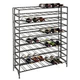 80 Bottle Modern Foldable Metal Connoisseurs Wine Rack, Cellar Storage Display Stand, Gray
