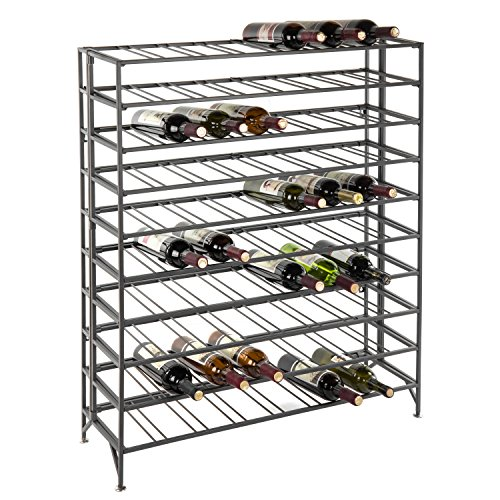 - 80 Bottle Modern Foldable Metal Connoisseurs Wine Rack, Cellar Storage Display Stand, Gray
