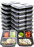 [IMPROVED DESIGN][18 PACK] MiscHome 3 Compartment Meal Prep Containers | 36 Oz. Three Compartment Food Storage Containers with Lids | BPA Free Bento Boxes | Meal Prep Container Three Compartment 36 Oz