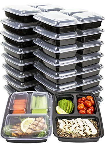 [IMPROVED DESIGN][18 PACK] MiscHome 3 Compartment Meal Prep Containers | 36 Oz. Three Compartment Food Storage Containers with Lids | BPA Free Bento Boxes | Meal Prep Container Three Compartment 36 Oz by Misc Home