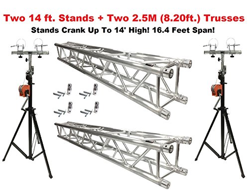 Two 14' Crank Up Stands With Two 8.20' Square Aluminum Truss Segments ()