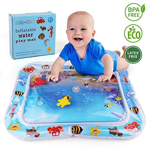 LotFancy Tummy Time Water Mat, Leakproof Inflatable Water Play Mat for Infant Toddlers, BPA Free Baby Water Mat for Newborn 3 6 9 Month, Perfect Tummy Time Play Activity Center - Activity Filled Toy Water