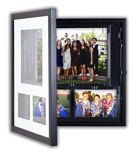 Square Artwork Display Frame by Lil Davinci - Square Cabinet Frames for Multiple Photos - 17x17 Black Da Vinci Cabinet