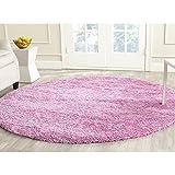Safavieh California Premium Shag Collection SG151-3232 Pink Round Area Rug (6'7