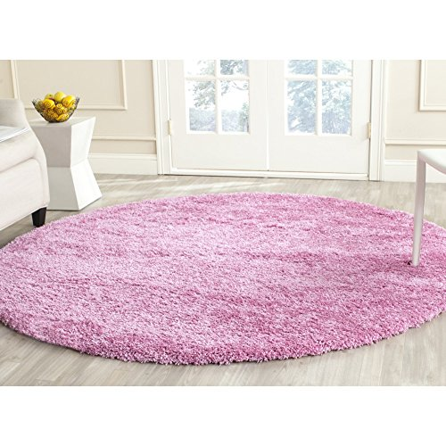 Safavieh California Premium Shag Collection SG151-3232 Pink Round Area Rug (6'7