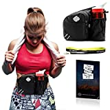Hiking Belt Pack – Black Jogging Waist Bag with Water Bottle Holder – Fanny Bum Bag for Men and Women – Suitable for Running, Walking, Jogging, Cycling, and Traveling