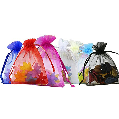Anleolife 100Pcs 5x7 Inches Sheer Organza Bags Drawstring Gift Bags Mesh Jewelry Pouches For Party Wedding Christmas Valentine Favors Organza -