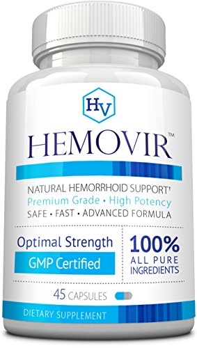 Hemovir - Best Hemorrhoid & Fissure Treatment for Rapid Healing; Reduce Itching,Irritation, Bleeding & Burning !100% Natural Ingredients - 45 Capsules - 60 Days Money Back Guarantee! by Approved Science
