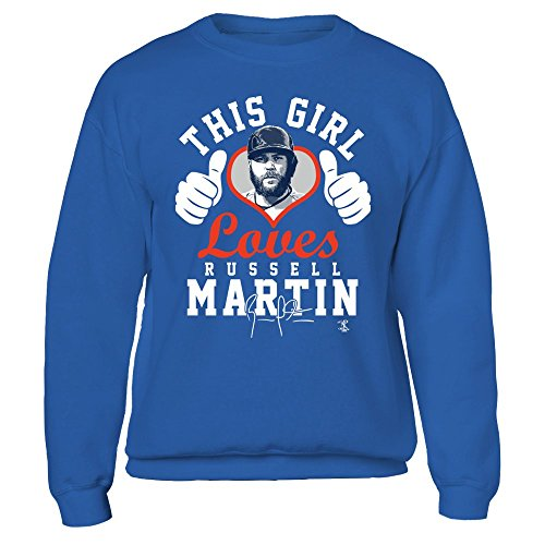 FanPrint Official Sports Apparel Unisex Crewneck Sweatshirt Russell Martin This Girl Loves W. Thumbs, Size 2XL, Royal