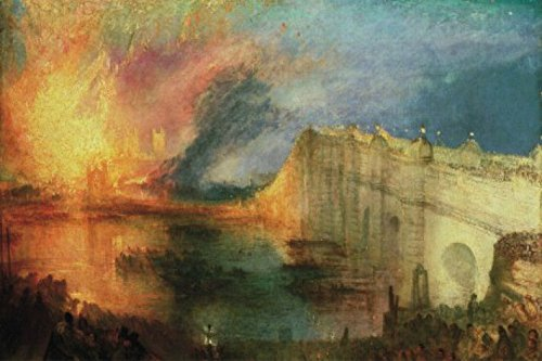 Joseph William Turner Poster Adhesive Photo Wall-Print - The Burning of The Houses of Lords and Commons, 1835 (71 x 47 inches) (House Of Commons And House Of Lords)