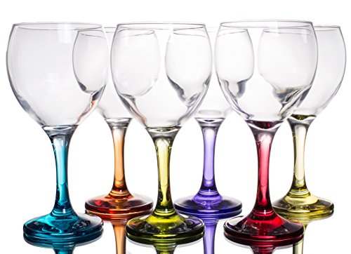 Multi Colored Party Stemmed Wine Glasses, Small, 8 oz, Set of -