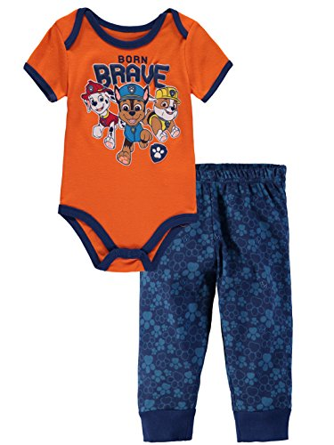 Nickelodeon Baby Boys' Paw Patrol Short Sleeve Bodysuit Pant Set (Born Brave, 6-9 Months)