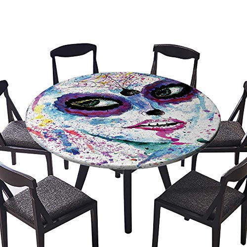 Round Table Tablecloth Halloween Lady with Sugar Skull Make Up Creepy Dead Face Gothic Woman Machine Washable 31.5