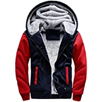 Hot Sale!Todaies Mens M-5XL Hoodie Winter Warm Fleece Zipper Sweater Jacket Outwear Coat (5XL, Red)