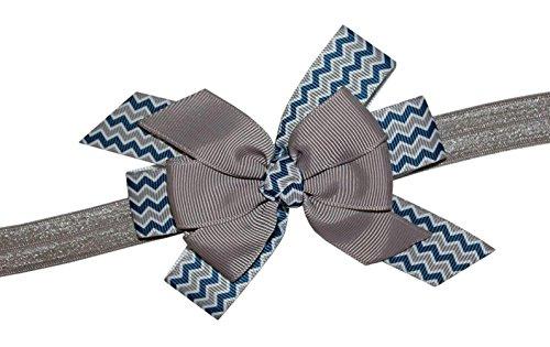 WD2U Girls Navy & Silver Chevron Football Team Colors Hair Bow Stretch Headband (Dallas Cowboy Toddler Cheerleader Costume)