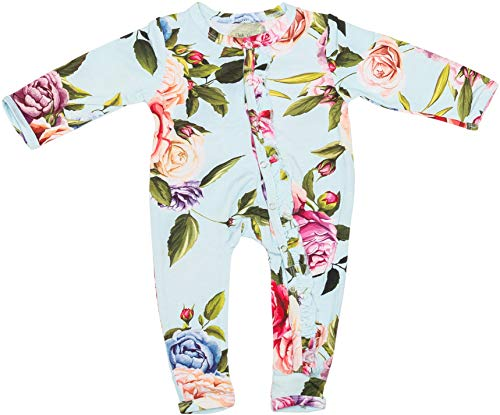 Posh Peanut One Piece Romper Silky Soft & Breathable - Premium Knit Infant Clothing - Bamboo Viscose (Country Rose, 0-3 -