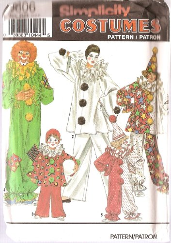 OOP/UNCUT SIMPLICITY 9806 COSTUMES - CLOWNS & HATS - SIZE: AA (ADULT SM - LG) SEWING PATTERN (Clown Costume Patterns)