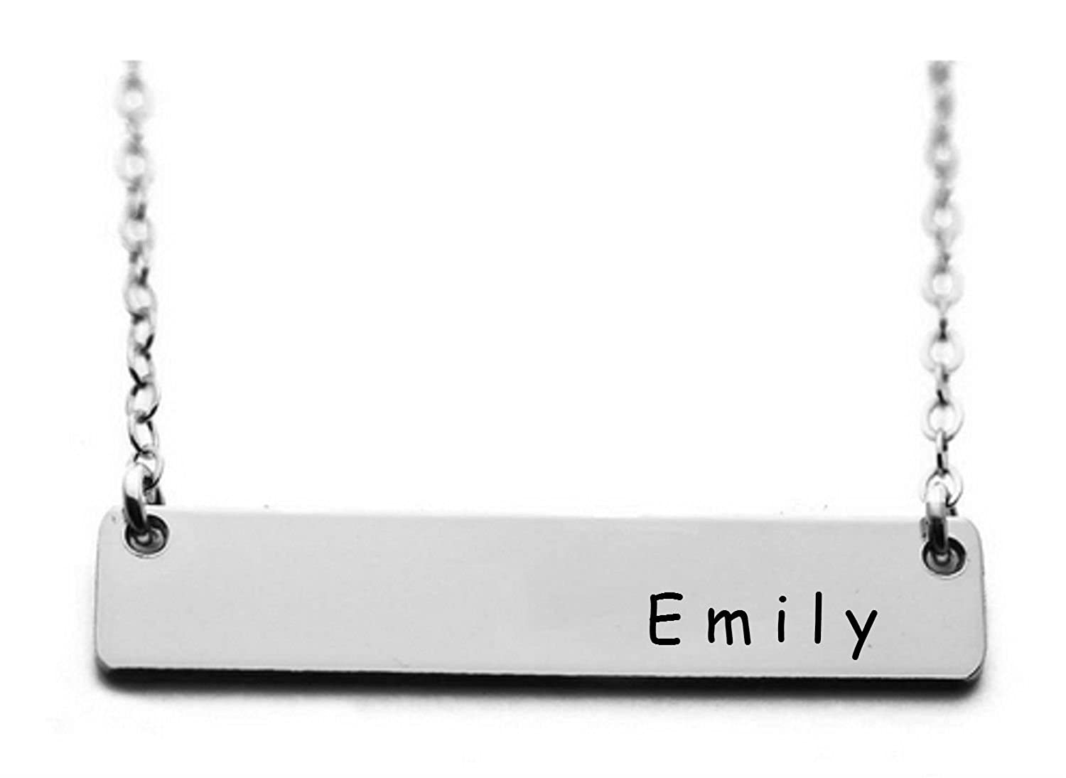 Personalized Custom Hand Stamped 18 Inch Chain Length with Clasp Name Bar Necklace Silver Aluminum