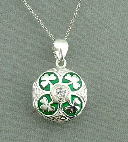 Silver Shamrock Clover Locket Necklace For Women Enamel Cubic Zirconia Green ()