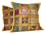 ANJANIYA 2 Embroidery Sequin Cushion Cover 16x16 inches Indian Boho Hippie Patchwork Throw Pillow Cushion Cover Decorative Bohemian Pillows Cotton Hand Embroidered Pillow Cases (Khaki)