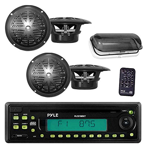 Pyle Marine Stereo Radio Headunit Receiver & Speaker Kit, MP3/USB/SD Readers, CD Player, AM/FM Radio, Single DIN, (4) Waterproof 5.25'' Speakers, Splash Proof Cover (Black) Phoenix Suns Dart
