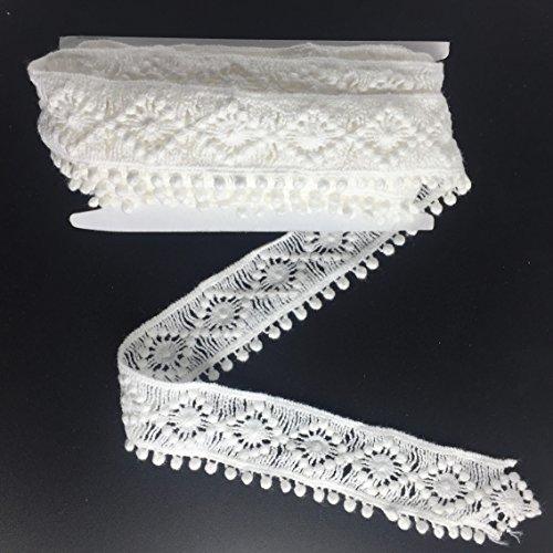 (ELLAMAMA Cotton Lace Trim DIY Craft Delicate Ribbon Bubble Edge 1 Inch Wide 3yds White)