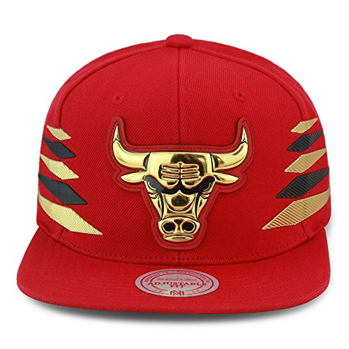 Mitchell & Ness Chicago Bulls Snapback Hat Cap Red/Gold & Black Diamond Side Foil (Patent Leather) (Mitchell Ness Diamond)