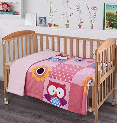 MB Collection Kids Soft & Warm Pink, Purple Light Pink Sun Flower Owl Design Sherpa Baby Toddler Girls Blanket Printed Borrego Stroller or Baby Crib or Toddler Bed Blanket Plush Throw 40X50# Pink Owl