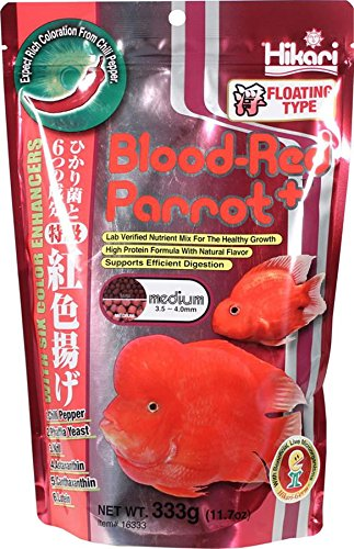 Hikari 330342 Blood, Red Parrot+, Medium Pellets, 333g