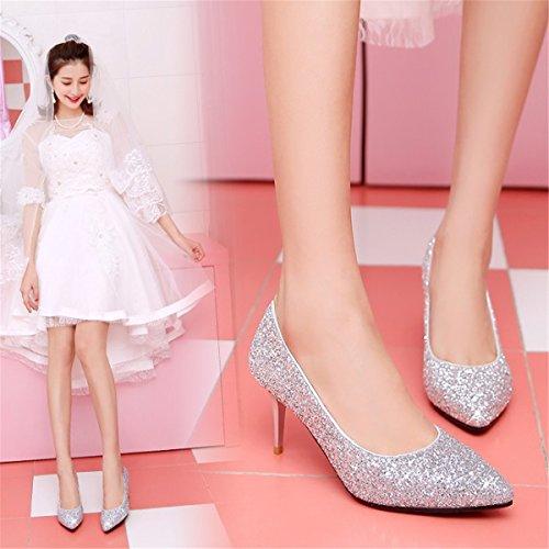 De Plata A Multa Madre Banquete Mujer Nupcial Moda Boda Silver Tacón Rojo Zapatos Zapatillas Cristal La Con Punta Sandalias Wedding Shoes dPwgxn7q