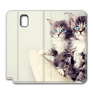 Brain114 Fashion Style Case Design Flip Folio PU Leather Cover Standup Cover Case with Cute Kittens Pattern Skin for Samsung Galaxy Note 3