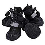 Mankwei Dog Boots Booties with Zipper Drawstring Water Resistant Outdoor Running Pet Shoes for Small Large Dogs - Black(4Pcs)