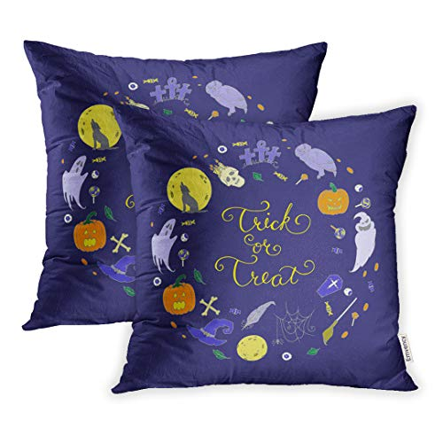 Emvency 20x20 Inch Decorative Set of 2 Throw Pillow Cover Autumn Different Halloween Characters Bone Broom Square Home Cushion Sofa Two Sides Pillow Case ()