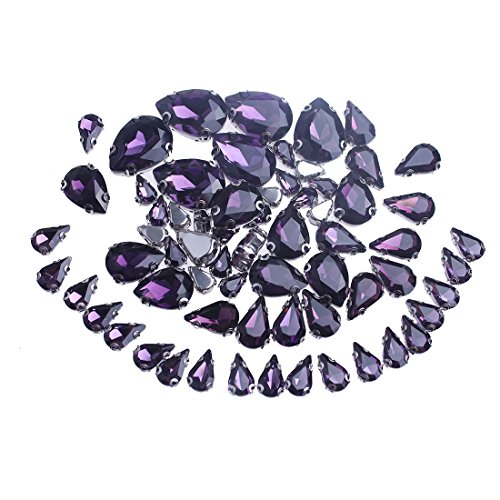 ZIJING Violet Purple Small Big Size Silver Brass Metal Setting Teardrop Facets Sew On Crystal Rhinestones Gems Beads with 4 Holes ()