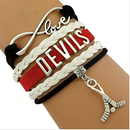 New Jersey Devils Bracelet, Devils Jewelry, Hockey Bracelet, NHL Bracelet & Perfect Hockey Fan Gift (Nj Devils compare prices)