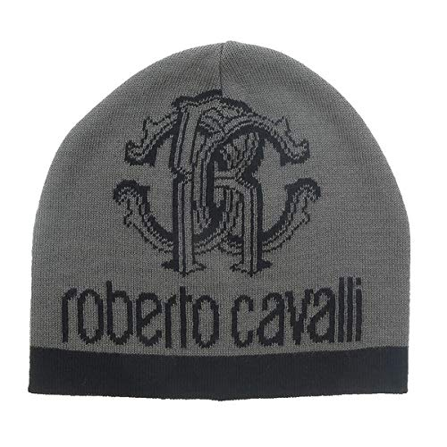 Roberto Cavalli ESZ027 05001 Grey Logo Beanie Hat for mens at Amazon ... f873443854f