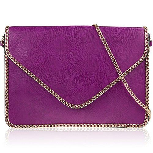Xardi London catena in finta pelle donne pochette da sposa designer donne sera festa borsetta Purple