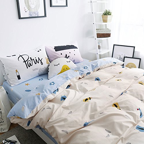 [Cartoon Bedding Sets Chick - MeMoreCool 100% Pima/Supima Cotton 40 Threads Count Reactive Printing Little Fresh Style Duvet Cover Sets Full] (Sexy Pirate Chicks)