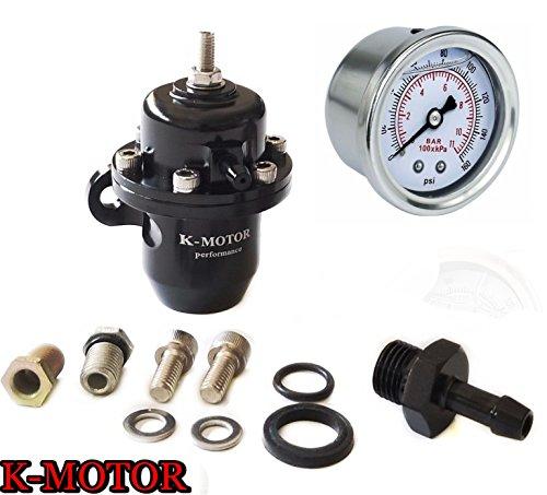 - K-Motor Performance Billet Aluminum Adjustable Fuel Pressure Regulator With Fuel Pressure Gauge Compatible With Honda Civic - Acura Integra B16A B18C D16Z6 B20 B17