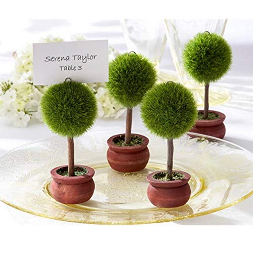 (5pcs Green Topiary Tree Photo Holder and Place Card Holder Wedding Favour Table Decoration)