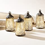 """Gold Mercury Glass Tabletop Lanterns - Set of 4, Warm White LEDs, 5.5"""" Height, Antique Bronze Accents, Battery Operated"""