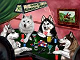 Home of Siberian Husky 4 Dogs Playing Poker Art Portrait Print Woven Throw Sherpa Plush Fleece Blanket (37x57 Sherpa)