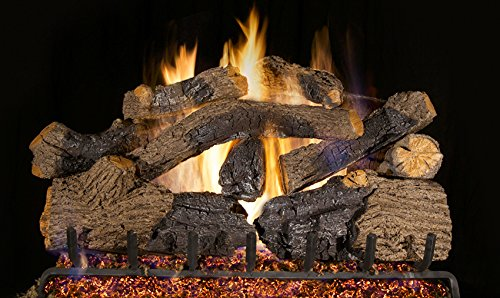 Real Fyre 30-inch Charred Grizzly Oak Vented Gas Logs Bundled with G45 Burner Kit (Natural Gas) ()