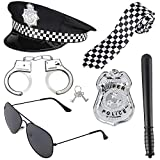 Beelittle Police Costume Accessories Police Hat Handcuffs Policeman Badge Police Officer Dress Up Costume Accessories for Cop Swat FBI Costume Party Halloween Role Play (Black 1)