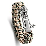 Kayder King Cobra Style Paracord Bracelet with Antique Silver Native American Indians Head & Adjustable D Shackle, Men and Boys Jewelry Gift, Camo(Green/yellow)