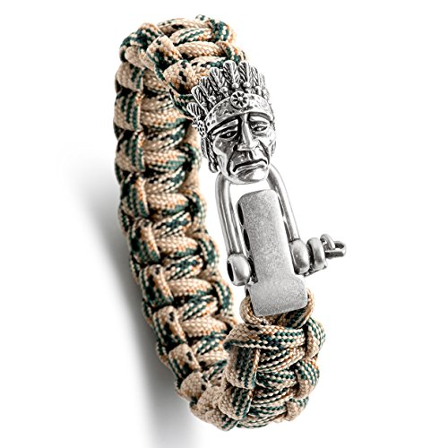 Bracelet Style Antique (Kayder King Cobra Style Paracord Bracelet with Antique Silver Native American Indians Head & Adjustable D Shackle, Men and Boys Jewelry Gift, Camo(Green/yellow))
