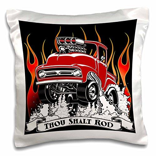 3dRose Street Rod Popping Wheelies and Jumping Through Flames Pillow Case, 16 x 16