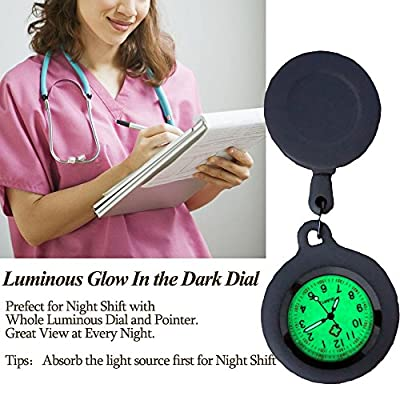GetLucky Paramedic Luminous Nurse Fob Watch for Nurses Doctors, Nite Glow in Dark with Whole Dial & Pointer,Retractable Digital Fob Watch for Nurses and Doctors,Silicon Cover,with Battery Inside