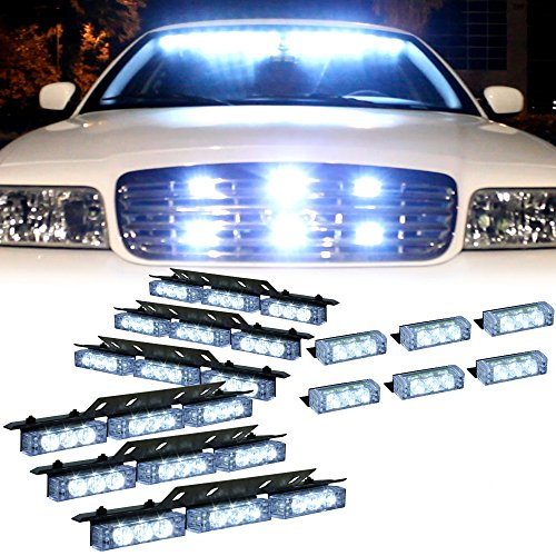 - DT MOTO™ White 54x LED Emergency Vehicle Deck Grill Dash Warning Strobe Light - 1 set