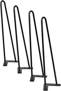 """Hairpin Legs(Set of 4) Satin Black, Metal Heavy Duty Table 2 Rod Legs for Office Desk,Dining Tables (22"""")"""